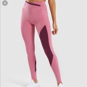 GYMSHARK ASYMMETRICAL LEGGINGS- dusty pink/ruby
